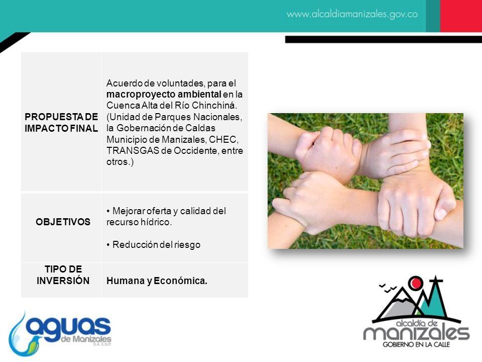 PROPUESTA DE IMPACTO FINAL Acuerdo de voluntades, para el macroproyecto ambiental en la Cuenca Alta del Río Chinchiná.