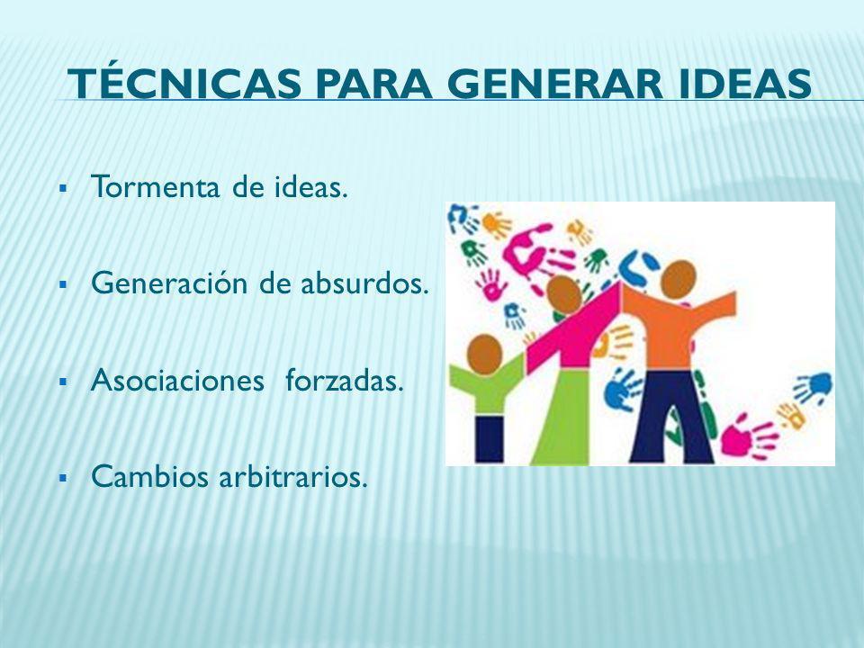 TÉCNICAS PARA GENERAR IDEAS Tormenta de ideas. Generación de absurdos. Asociaciones forzadas. Cambios arbitrarios.