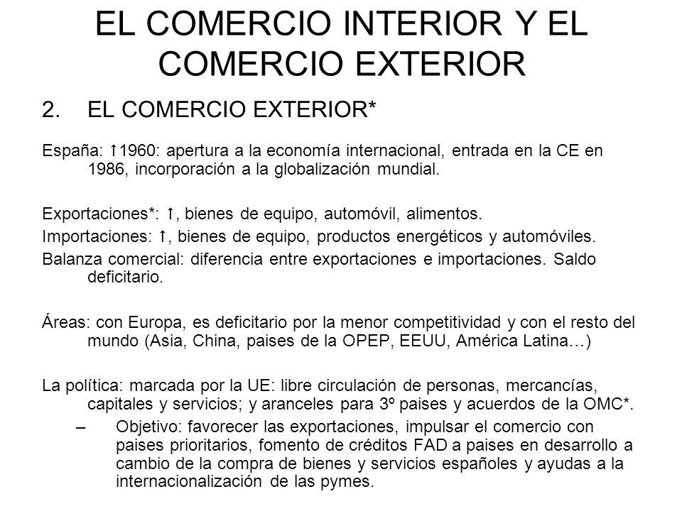 EL COMERCIO INTERIOR Y EL COMERCIO EXTERIOR 2.EL COMERCIO EXTERIOR* España: 1960: apertura a la economía internacional, entrada en la CE en 1986, inco