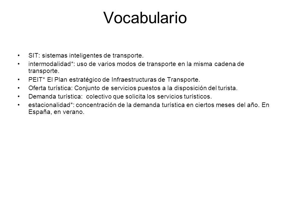 Vocabulario SIT: sistemas inteligentes de transporte. intermodalidad*: uso de varios modos de transporte en la misma cadena de transporte. PEIT* El Pl