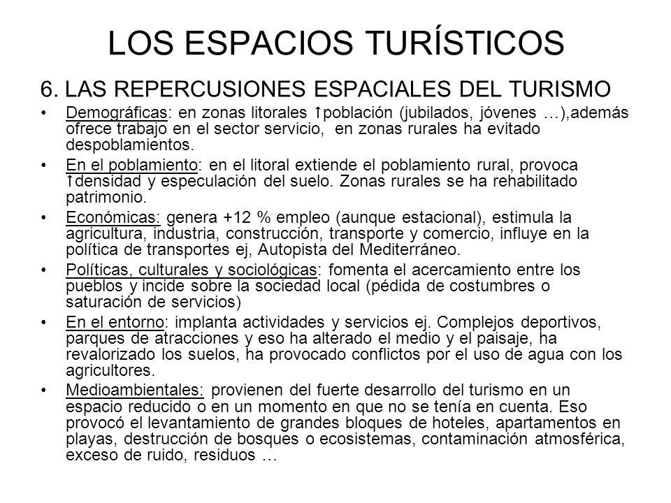 LOS ESPACIOS TURÍSTICOS 6. LAS REPERCUSIONES ESPACIALES DEL TURISMO Demográficas: en zonas litorales población (jubilados, jóvenes …),además ofrece tr