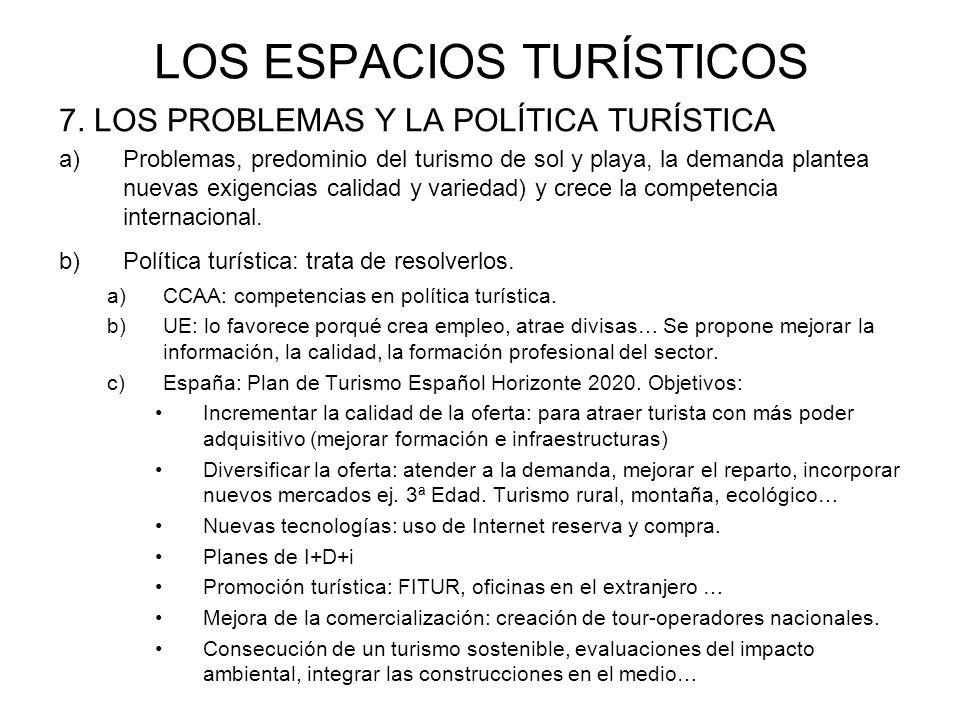 LOS ESPACIOS TURÍSTICOS 7. LOS PROBLEMAS Y LA POLÍTICA TURÍSTICA a)Problemas, predominio del turismo de sol y playa, la demanda plantea nuevas exigenc