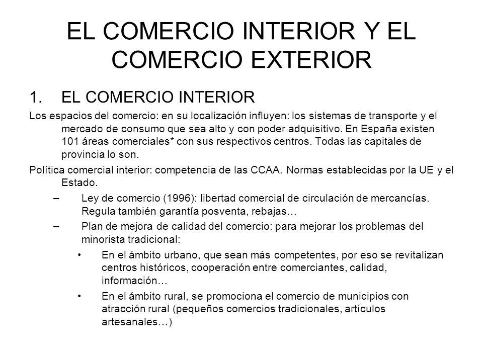 EL COMERCIO INTERIOR Y EL COMERCIO EXTERIOR 2.EL COMERCIO EXTERIOR* España: 1960: apertura a la economía internacional, entrada en la CE en 1986, incorporación a la globalización mundial.