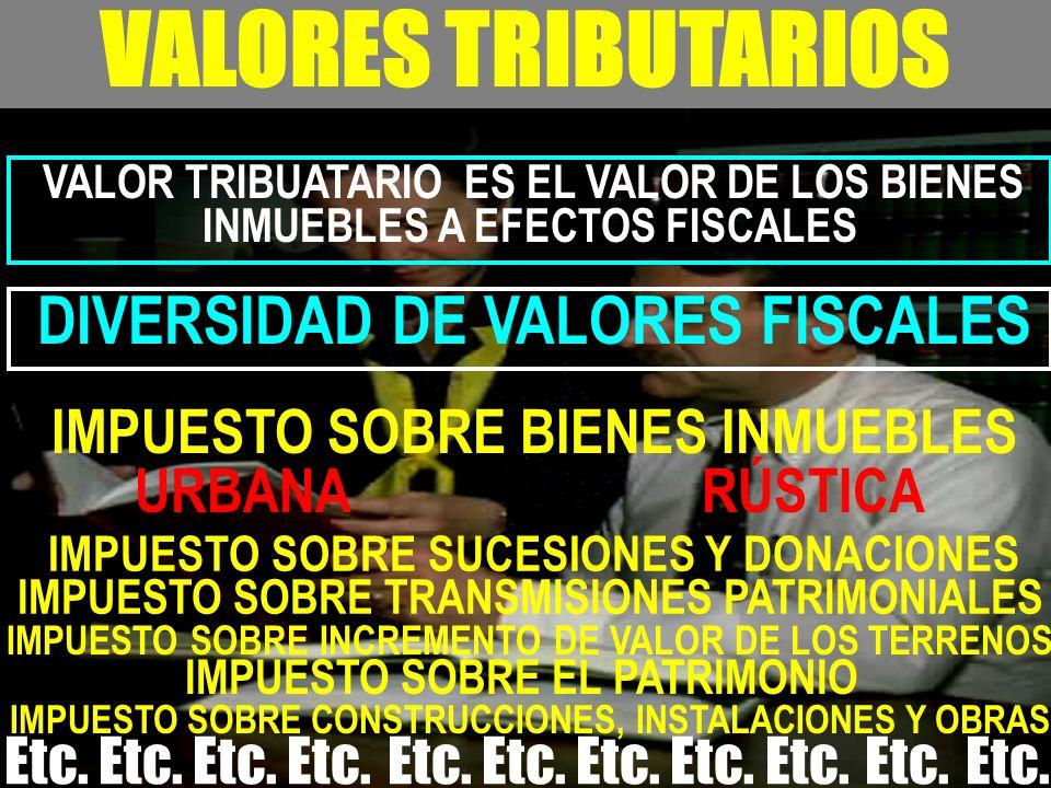 - VALORES TRIBUTARIOS VALOR TRIBUATARIO ES EL VALOR DE LOS BIENES INMUEBLES A EFECTOS FISCALES DIVERSIDAD DE VALORES FISCALES IMPUESTO SOBRE BIENES IN