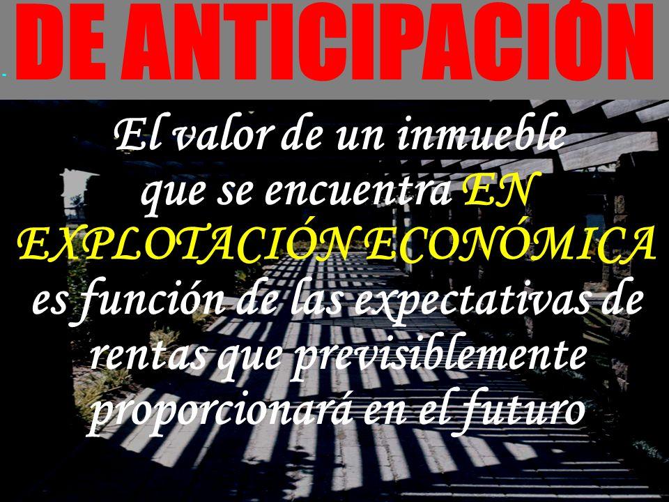 - DE ANTICIPACIÓN El valor de un inmueble que se encuentra EN EXPLOTACIÓN ECONÓMICA es función de las expectativas de rentas que previsiblemente propo