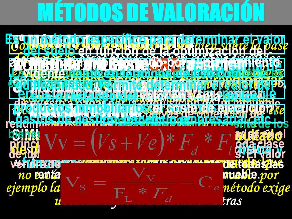 - MÉTODOS DE VALORACIÓN 1º Método de comparación Consiste en estimar el valor de un bien sobre la base del valor de otros bienes que han sido ya vendi