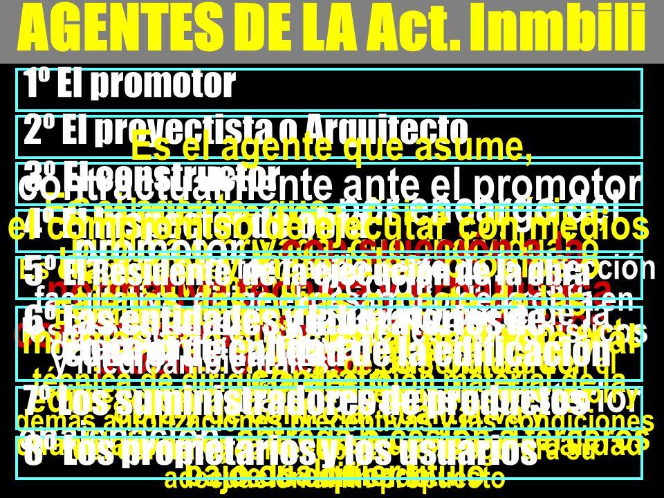 AGENTES DE LA Act. Inmbili 1º El promotor Cualquier persona, física o jurídica, pública o privada, que, individual o colectivamente, decide, impulsa,