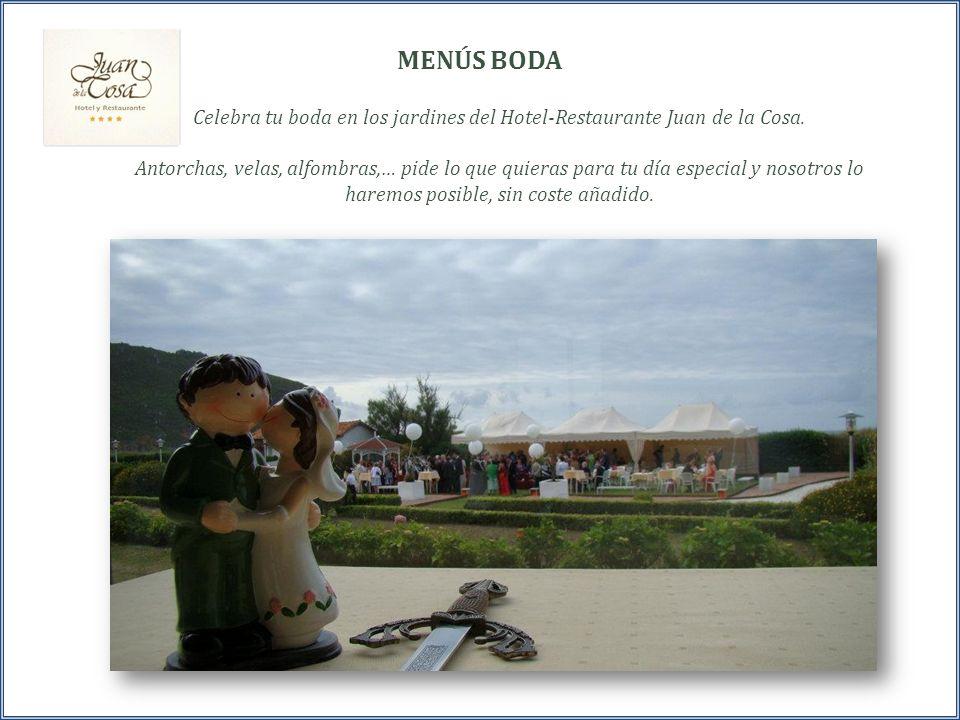 Celebra tu boda en los jardines del Hotel-Restaurante Juan de la Cosa. Antorchas, velas, alfombras,… pide lo que quieras para tu día especial y nosotr