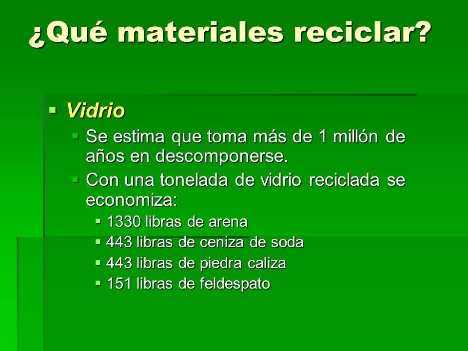¿Qué materiales reciclar? Vidrio Vidrio Se estima que toma más de 1 millón de años en descomponerse. Se estima que toma más de 1 millón de años en des