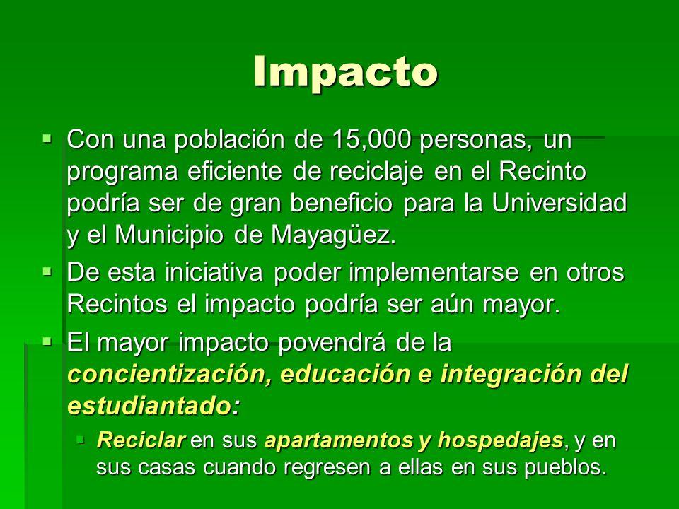 Impacto Con una población de 15,000 personas, un programa eficiente de reciclaje en el Recinto podría ser de gran beneficio para la Universidad y el Municipio de Mayagüez.