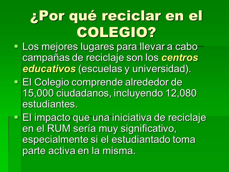 Los mejores lugares para llevar a cabo campañas de reciclaje son los centros educativos (escuelas y universidad).
