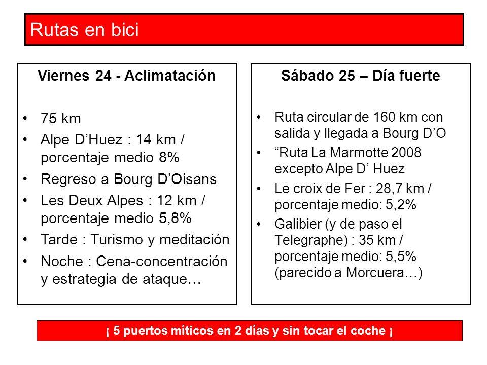 Rutas en bici Sábado 25 – Día fuerte Ruta circular de 160 km con salida y llegada a Bourg DO Ruta La Marmotte 2008 excepto Alpe D Huez Le croix de Fer : 28,7 km / porcentaje medio: 5,2% Galibier (y de paso el Telegraphe) : 35 km / porcentaje medio: 5,5% (parecido a Morcuera…) Viernes 24 - Aclimatación 75 km Alpe DHuez : 14 km / porcentaje medio 8% Regreso a Bourg DOisans Les Deux Alpes : 12 km / porcentaje medio 5,8% Tarde : Turismo y meditación Noche : Cena-concentración y estrategia de ataque… ¡ 5 puertos míticos en 2 días y sin tocar el coche ¡