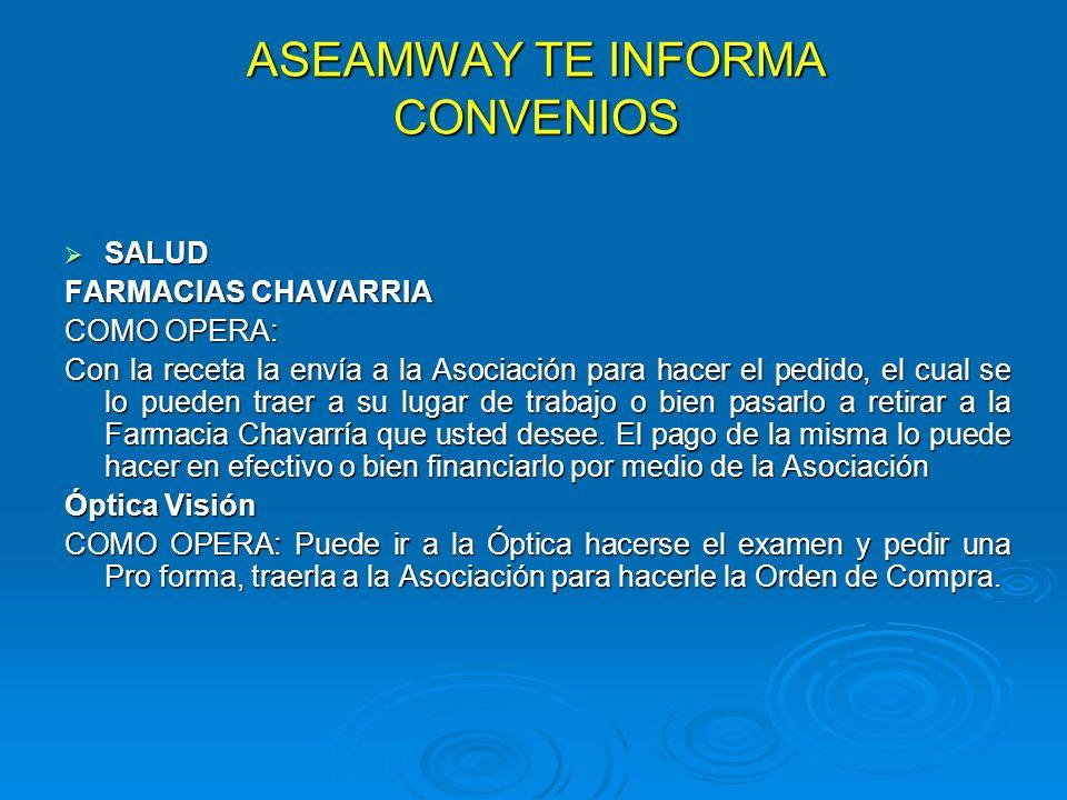 ASEAMWAY TE INFORMA CONVENIOS SALUD SALUD FARMACIAS CHAVARRIA COMO OPERA: Con la receta la envía a la Asociación para hacer el pedido, el cual se lo p