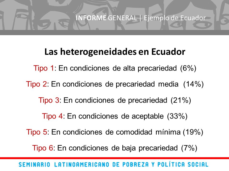 INFORME GENERAL | Ejemplo de Ecuador Tipo 1: En condiciones de alta precariedad (6%) Tipo 2: En condiciones de precariedad media (14%) Tipo 3: En condiciones de precariedad (21%) Tipo 4: En condiciones de aceptable (33%) Tipo 5: En condiciones de comodidad mínima (19%) Tipo 6: En condiciones de baja precariedad (7%) Las heterogeneidades en Ecuador