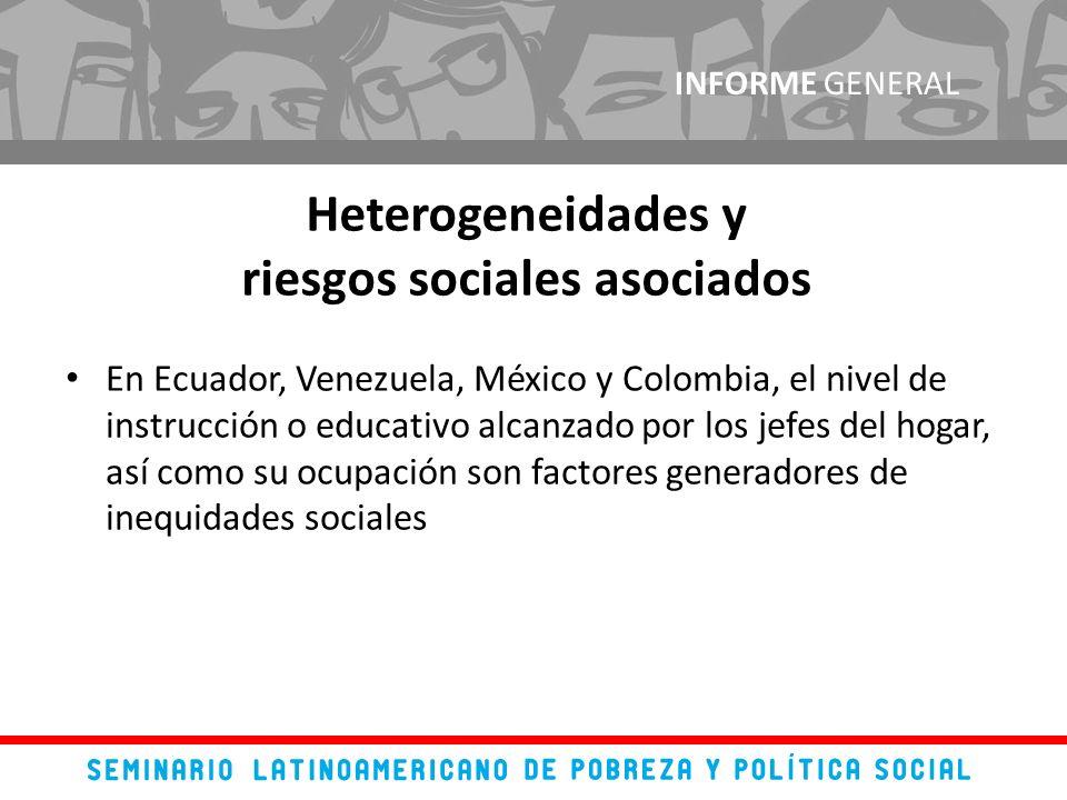 En Ecuador, Venezuela, México y Colombia, el nivel de instrucción o educativo alcanzado por los jefes del hogar, así como su ocupación son factores generadores de inequidades sociales INFORME GENERAL Heterogeneidades y riesgos sociales asociados