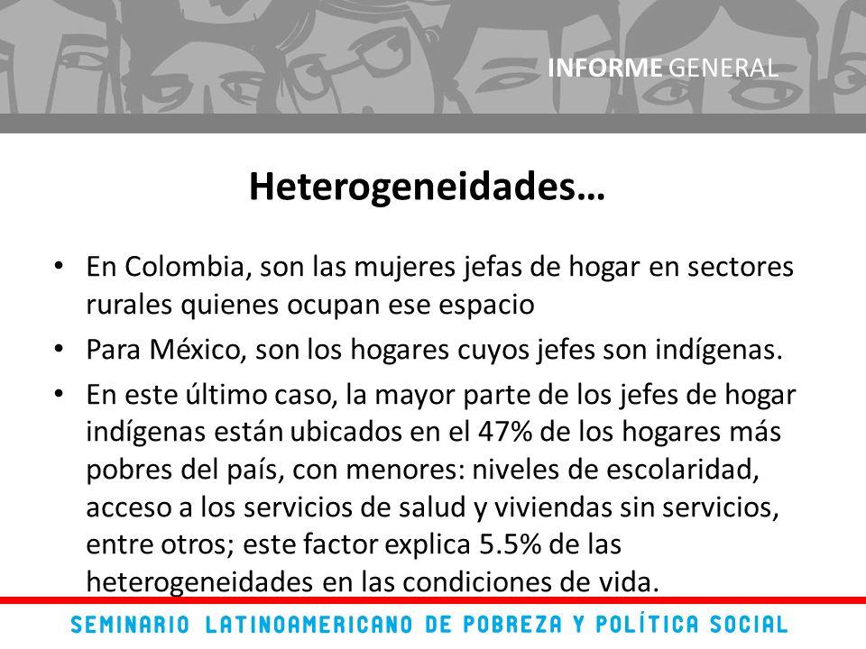 En Colombia, son las mujeres jefas de hogar en sectores rurales quienes ocupan ese espacio Para México, son los hogares cuyos jefes son indígenas.