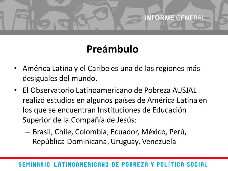América Latina y el Caribe es una de las regiones más desiguales del mundo. El Observatorio Latinoamericano de Pobreza AUSJAL realizó estudios en algu
