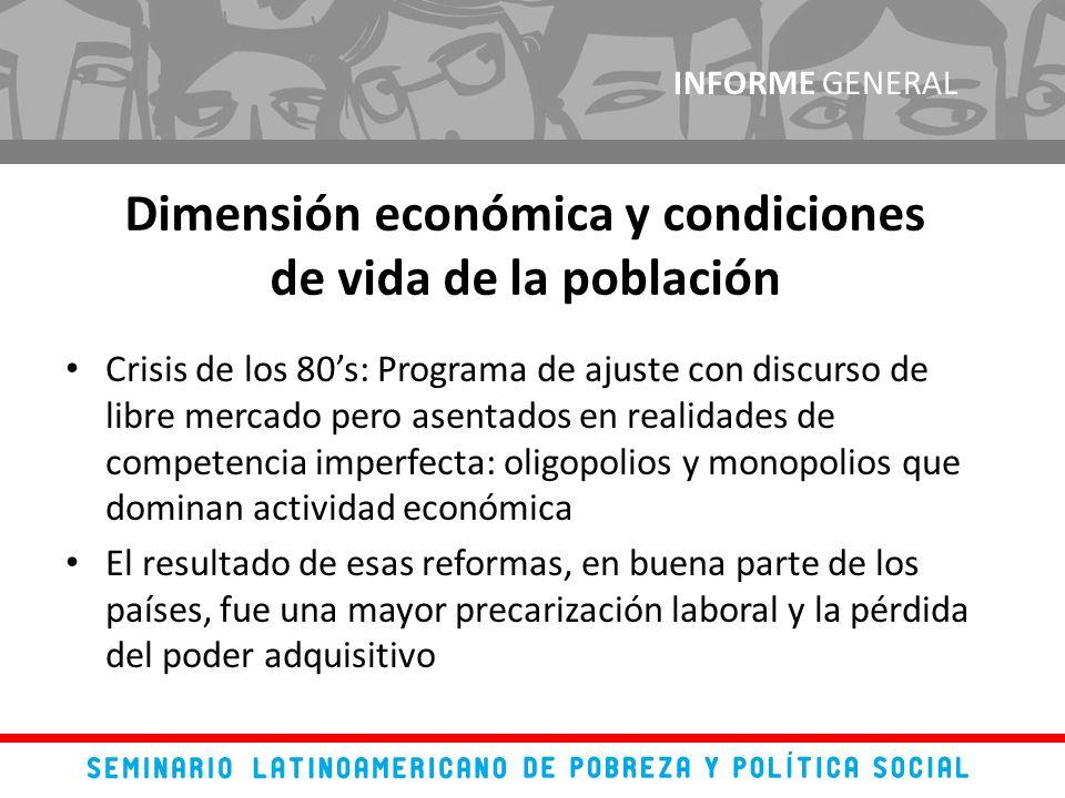 Crisis de los 80s: Programa de ajuste con discurso de libre mercado pero asentados en realidades de competencia imperfecta: oligopolios y monopolios q