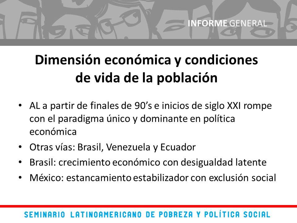 AL a partir de finales de 90s e inicios de siglo XXI rompe con el paradigma único y dominante en política económica Otras vías: Brasil, Venezuela y Ec
