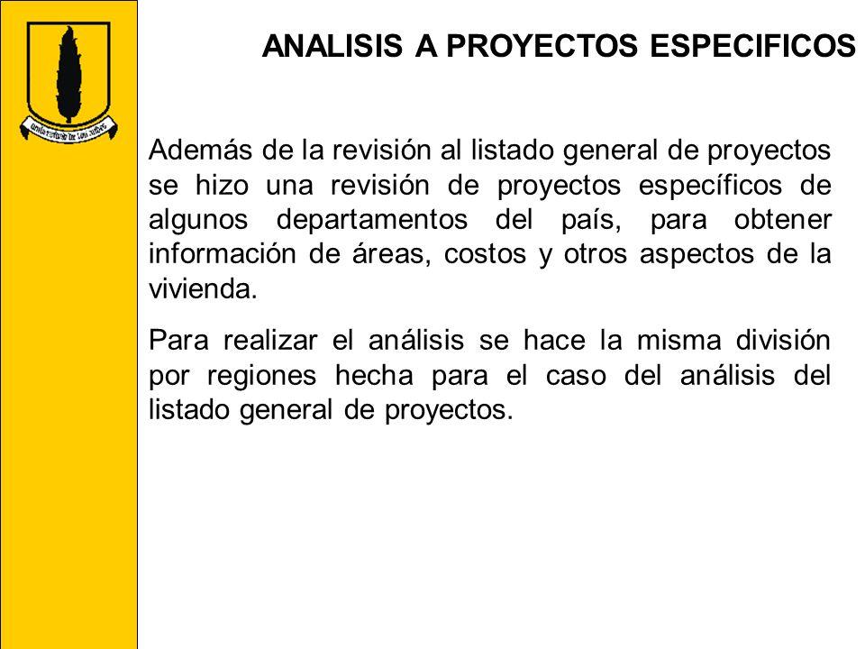 ANALISIS A PROYECTOS ESPECIFICOS Además de la revisión al listado general de proyectos se hizo una revisión de proyectos específicos de algunos depart