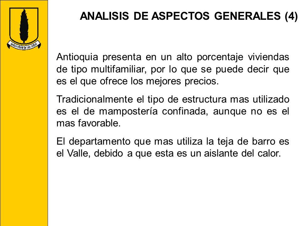 ANALISIS DE ASPECTOS GENERALES (4) Antioquia presenta en un alto porcentaje viviendas de tipo multifamiliar, por lo que se puede decir que es el que o
