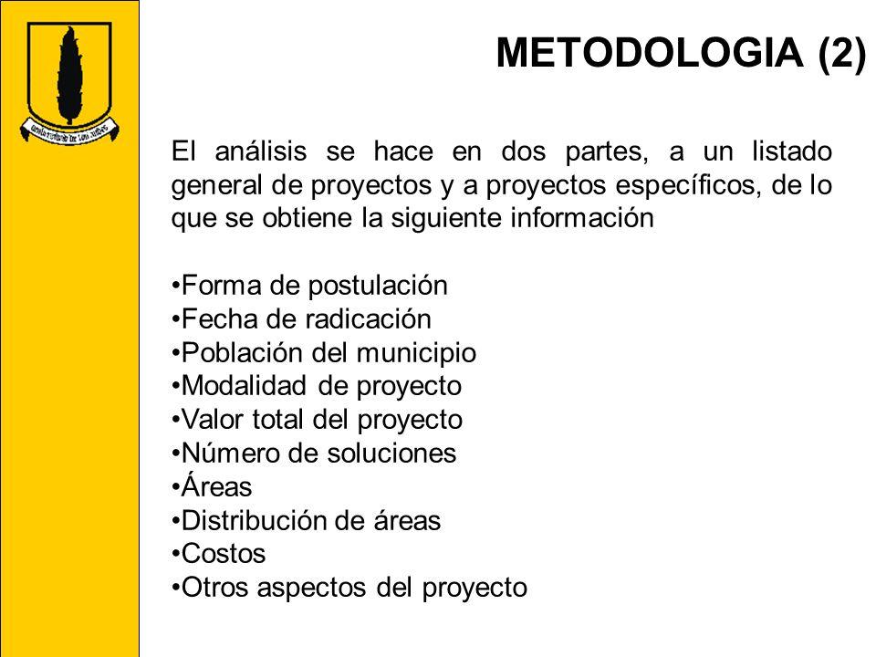 METODOLOGIA (2) El análisis se hace en dos partes, a un listado general de proyectos y a proyectos específicos, de lo que se obtiene la siguiente info