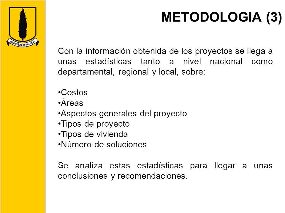 METODOLOGIA (3) Con la información obtenida de los proyectos se llega a unas estadísticas tanto a nivel nacional como departamental, regional y local,