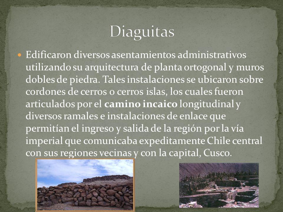 Edificaron diversos asentamientos administrativos utilizando su arquitectura de planta ortogonal y muros dobles de piedra. Tales instalaciones se ubic