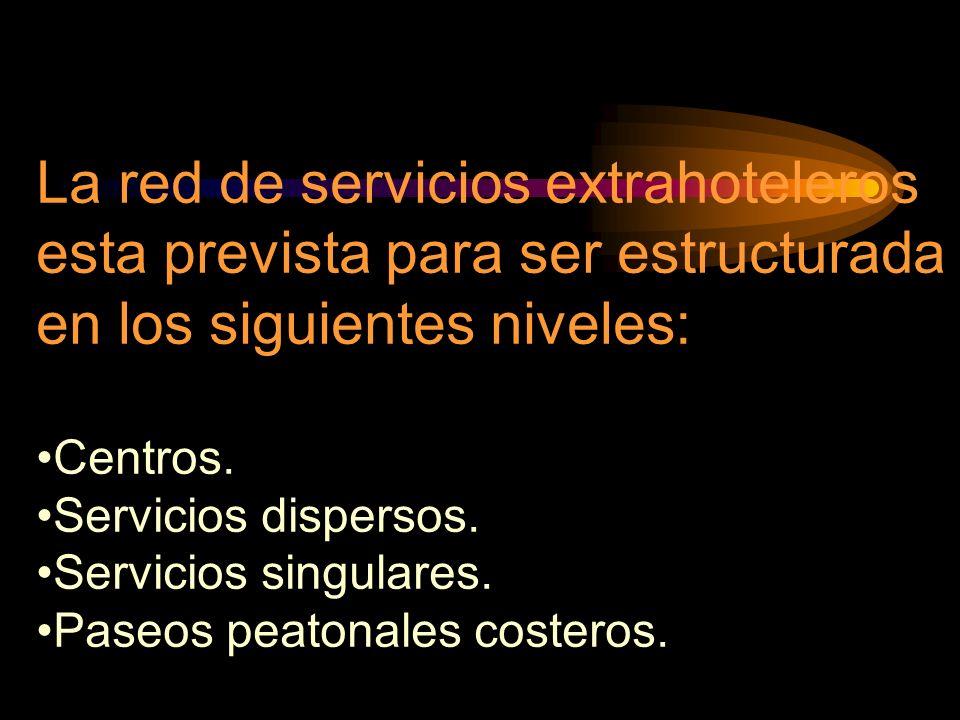La red de servicios extrahoteleros esta prevista para ser estructurada en los siguientes niveles: Centros. Servicios dispersos. Servicios singulares.