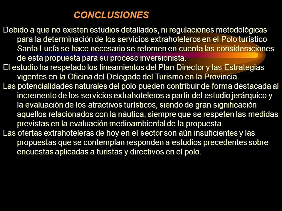 Debido a que no existen estudios detallados, ni regulaciones metodológicas para la determinación de los servicios extrahoteleros en el Polo turístico