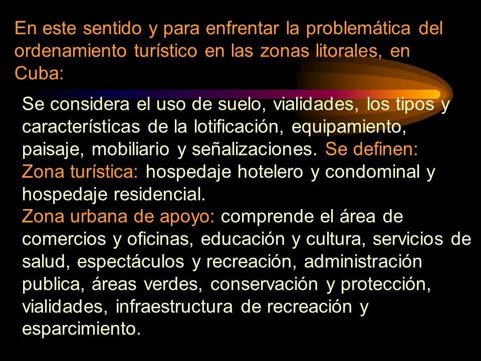 En este sentido y para enfrentar la problemática del ordenamiento turístico en las zonas litorales, en Cuba: Se considera el uso de suelo, vialidades,