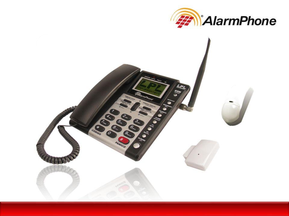 AlarmPhone es un equipo que combina: Teléfono Celular + Sistema de Seguridad Auto-monitoreo del espacio a proteger Detección y alarma de intrusos en sitio Detección y alarma de apertura de puertas o ventanas Botón de pánico fijo e inalámbrico.