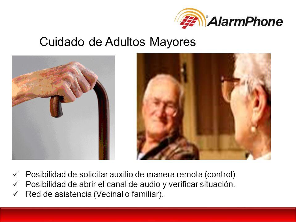Cuidado de Adultos Mayores Posibilidad de solicitar auxilio de manera remota (control) Posibilidad de abrir el canal de audio y verificar situación. R
