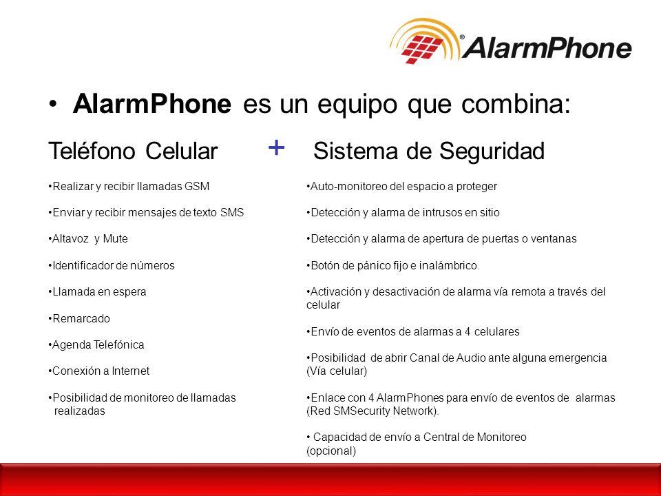 AlarmPhone es un equipo que combina: Teléfono Celular + Sistema de Seguridad Auto-monitoreo del espacio a proteger Detección y alarma de intrusos en s