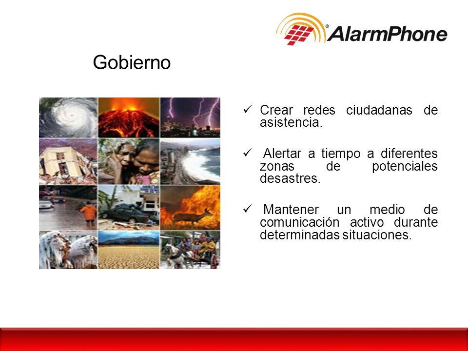 Gobierno Crear redes ciudadanas de asistencia. Alertar a tiempo a diferentes zonas de potenciales desastres. Mantener un medio de comunicación activo