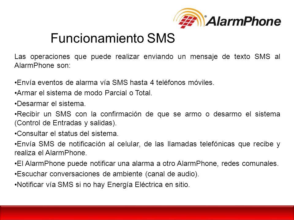 Funcionamiento SMS Las operaciones que puede realizar enviando un mensaje de texto SMS al AlarmPhone son: Envía eventos de alarma vía SMS hasta 4 telé