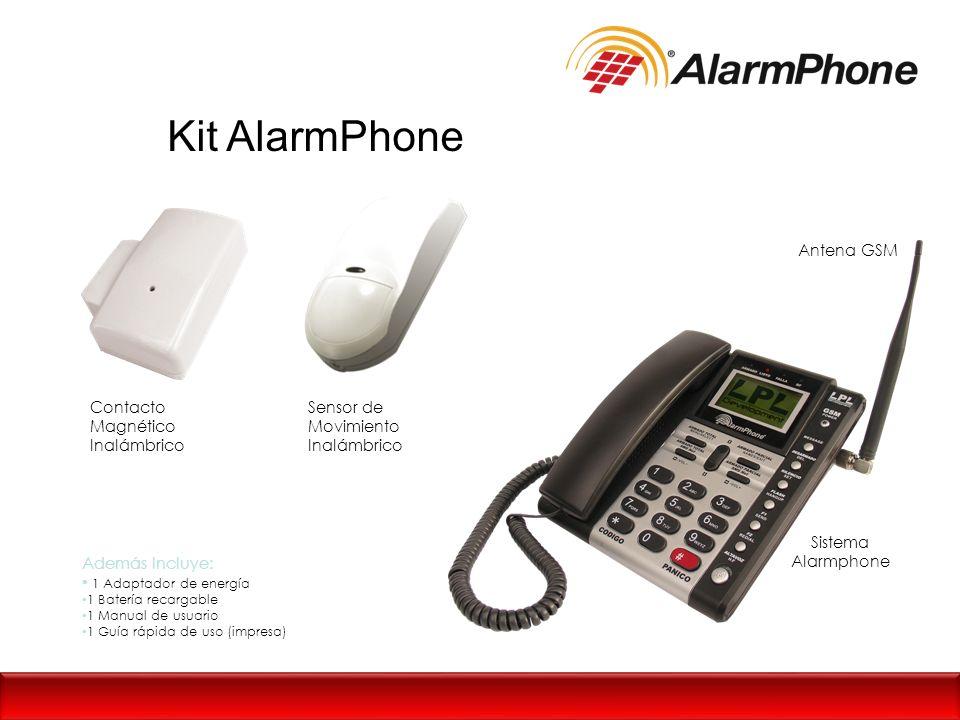 Kit AlarmPhone Contacto Magnético Inalámbrico Sensor de Movimiento Inalámbrico Antena GSM Sistema Alarmphone Además Incluye: 1 Adaptador de energía 1