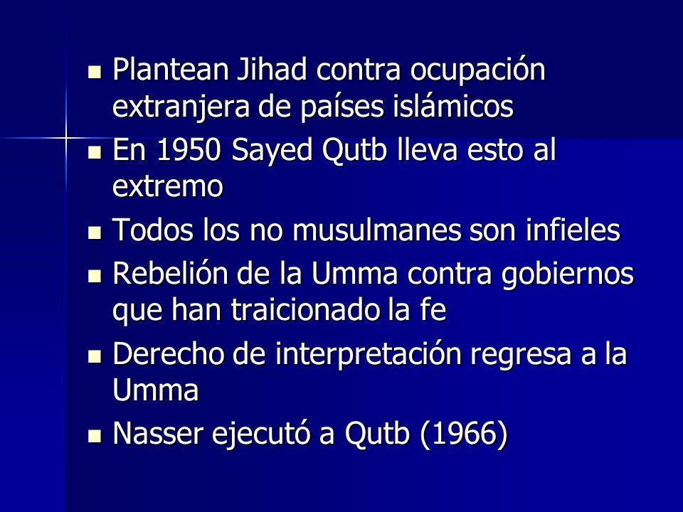 Influenciados por Qutb 1970 Ayatolah Khomeini 1970 Ayatolah Khomeini 1980 Mujahideen afganos 1980 Mujahideen afganos Académico palestino Abdullah Azzam (Univ.