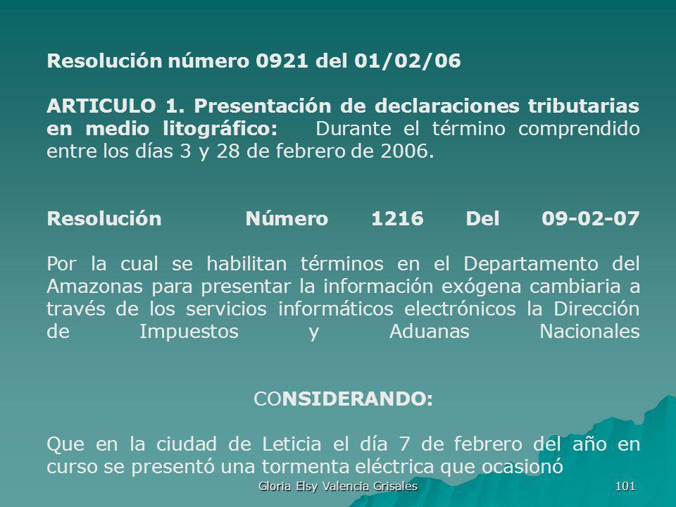 Gloria Elsy Valencia Grisales 101 Resolución número 0921 del 01/02/06 ARTICULO 1. Presentación de declaraciones tributarias en medio litográfico: Dura