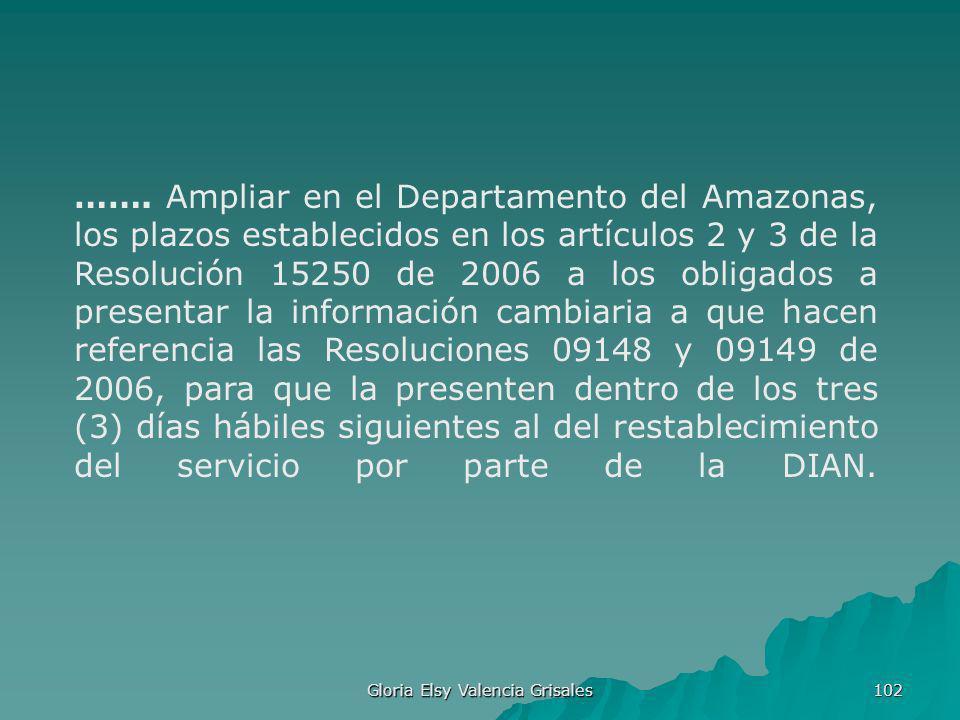 Gloria Elsy Valencia Grisales 102 ……. Ampliar en el Departamento del Amazonas, los plazos establecidos en los artículos 2 y 3 de la Resolución 15250 d
