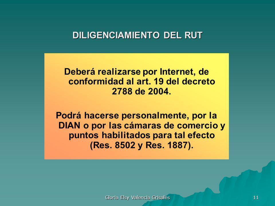 Gloria Elsy Valencia Grisales 11 DILIGENCIAMIENTO DEL RUT Deberá realizarse por Internet, de conformidad al art. 19 del decreto 2788 de 2004. Podrá ha