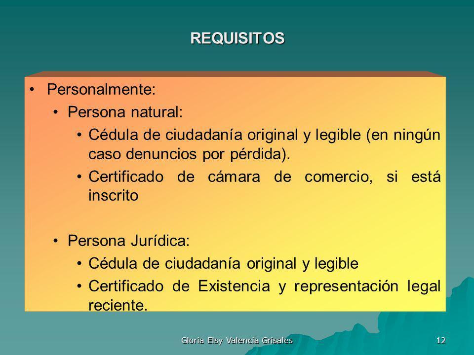 Gloria Elsy Valencia Grisales 12 REQUISITOS Personalmente: Persona natural: Cédula de ciudadanía original y legible (en ningún caso denuncios por pérd