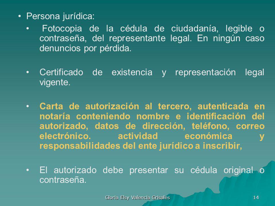 Gloria Elsy Valencia Grisales 14 Persona jurídica: Fotocopia de la cédula de ciudadanía, legible o contraseña, del representante legal. En ningún caso