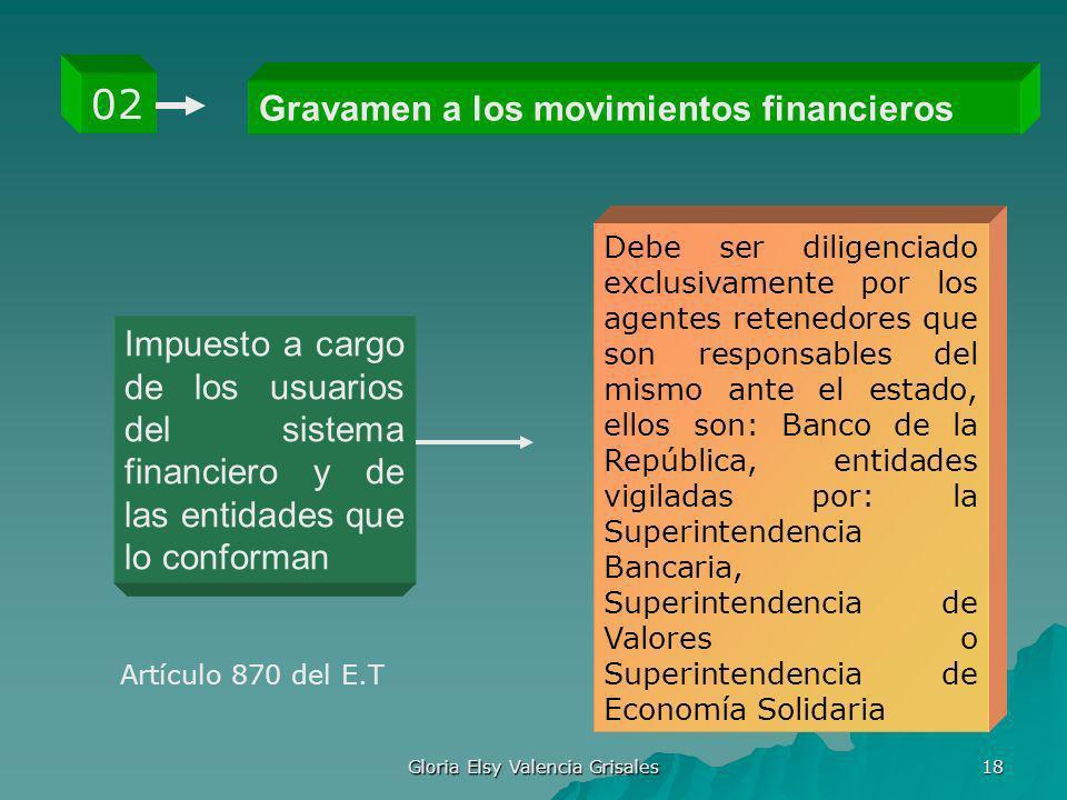 Gloria Elsy Valencia Grisales 18 Gravamen a los movimientos financieros 02 Impuesto a cargo de los usuarios del sistema financiero y de las entidades