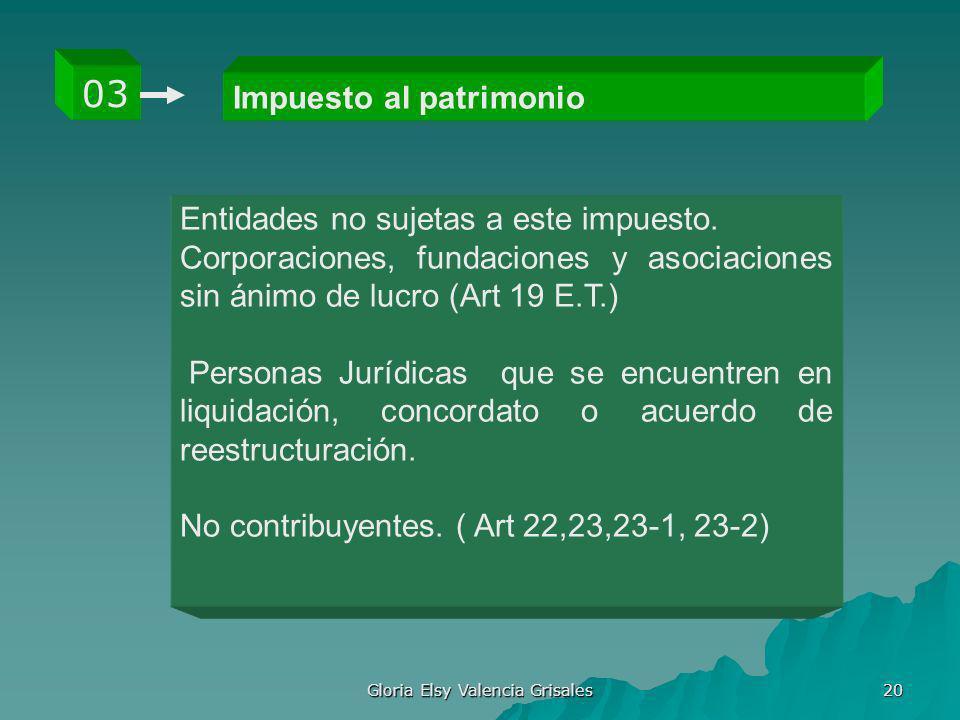 Gloria Elsy Valencia Grisales 20 Impuesto al patrimonio 03 Entidades no sujetas a este impuesto. Corporaciones, fundaciones y asociaciones sin ánimo d