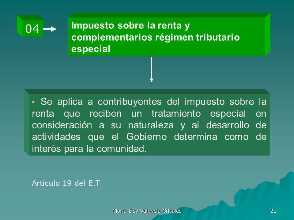 Gloria Elsy Valencia Grisales 21 Impuesto sobre la renta y complementarios régimen tributario especial 04 Se aplica a contribuyentes del impuesto sobr