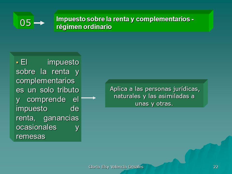 Gloria Elsy Valencia Grisales 22 Impuesto sobre la renta y complementarios - régimen ordinario 05 El impuesto sobre la renta y complementarios es un s