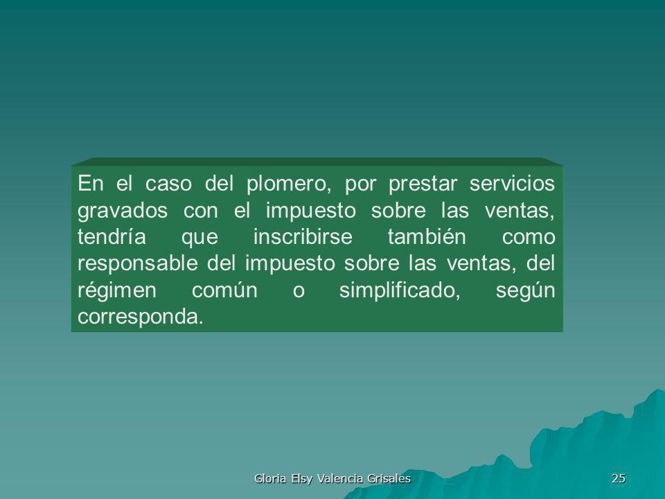Gloria Elsy Valencia Grisales 25 En el caso del plomero, por prestar servicios gravados con el impuesto sobre las ventas, tendría que inscribirse tamb