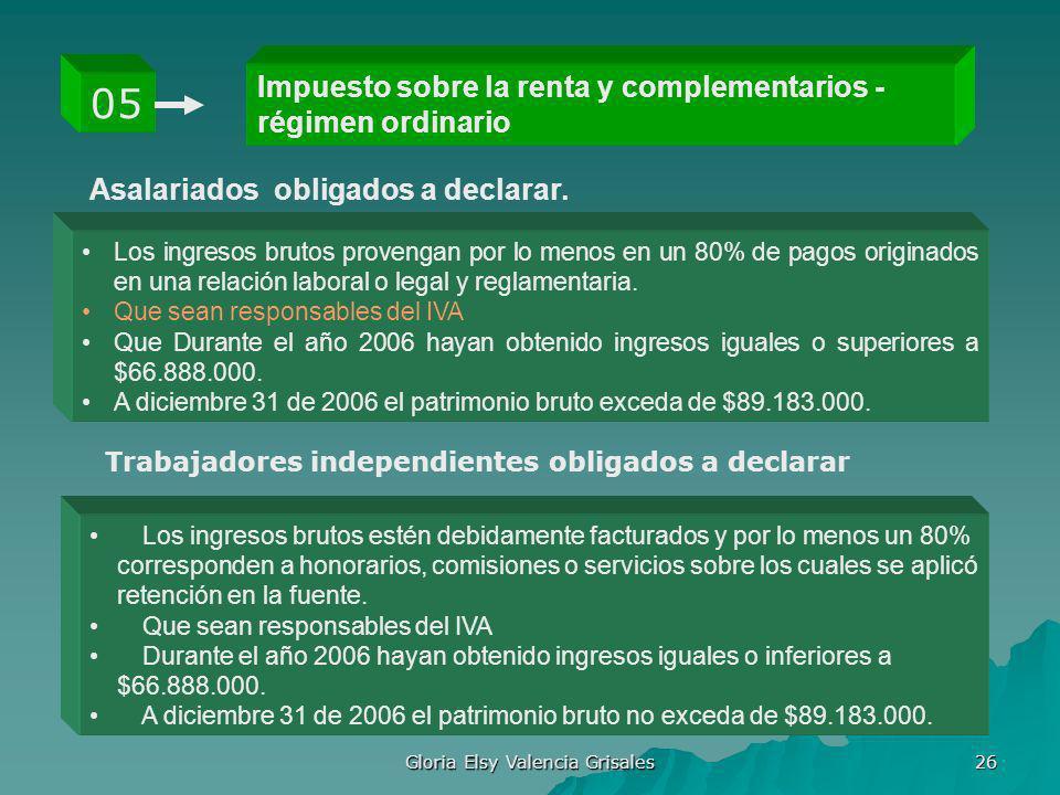 Gloria Elsy Valencia Grisales 26 Impuesto sobre la renta y complementarios - régimen ordinario 05 Los ingresos brutos provengan por lo menos en un 80%