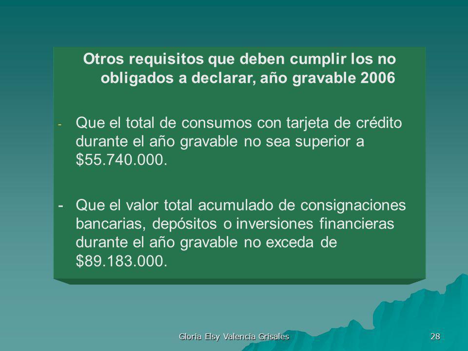Gloria Elsy Valencia Grisales 28 Otros requisitos que deben cumplir los no obligados a declarar, año gravable 2006 - Que el total de consumos con tarj